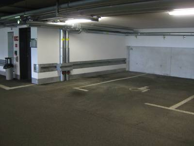 Inside view; Level U1; wheelchair-accessible parking space