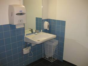 View of a wheelchair-accessible toilet: equipment of hand basins
