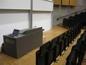 View to a typically equipped front area of a type 1 lecture room
