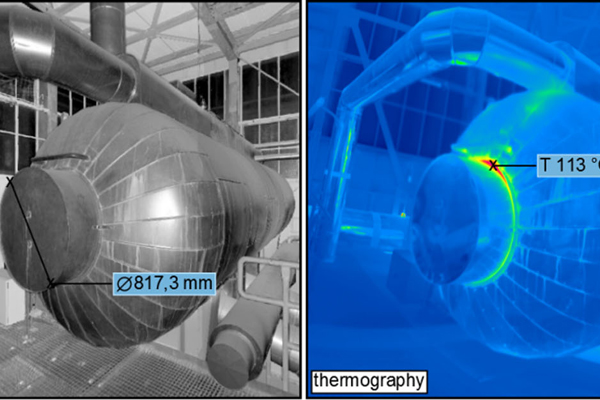 Left picture: Terrestrial 3D laser scan to digitalize the geometry. Middle picture: Thermographic image of the same object, hot areas are shown in red. Right image: Combination of 3D laser scan and thermographic image. Dimensions and temperatures of the o