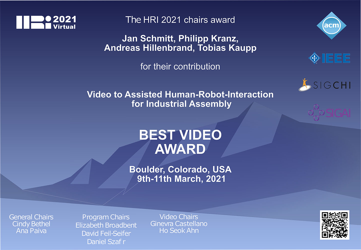 "Das Institut Digital Engineering an der FHWS erhielt die Auszeichnung ""Best Video Award. (Foto: Best Video Award)"